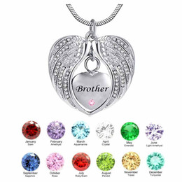 Wholesale brother love - Creativity Brother Wing Heart birthstone Cremation Urn Necklace for Ashes Urn Jewelry Memorial Pendant