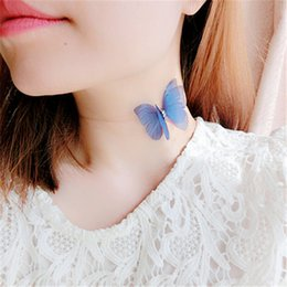 Wholesale Fish Yarn - whole sale2017 Elegant Korean Design Doublelayer Yarn Butterfly Wings Necklace Women Invisible Fish Tape Clavicle Choker Necklace