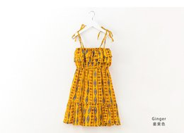 Wholesale Jumpers Clothing For Kids - Baby Girls Yellow Rhombus Dress Kids 2018 Summer Jumper Dress Children Pattern Casual Clothes For 120-170cm