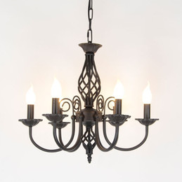 Wholesale candle work - Vintage Wrought Iron Chandelier E14 Candle Light Lamp Black White Metal Lighting Fixture
