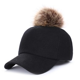 7efd0b08f41 Hip Hop Felt Baseball Cap Women Thick Warm Bone Snapback Hat Female Autumn  Winter Fashion Polyester Fur Pom Pom Hats