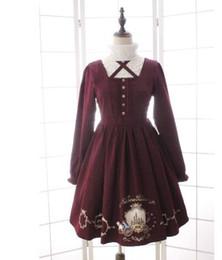Robe alice en Ligne-2016 Nouvelle Robe Lolita Hiver À Manches Longues Robe Alice Lolita Courte Imprimée Alice Carriage and Clock