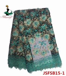 Wholesale Yards Tulle - Beaded French Lace Fabric With Stones High Quality African Lace Fabrics 5 Yards Tulle Lace Embroidered Fabric
