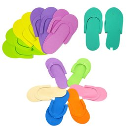 Wholesale Disposable Flip Flop Slipper - Disposable Foam Slippers Foam Pedicure Slipper for Salon Spa Pedicure Flip Flop Tools Random Colors OOA4184