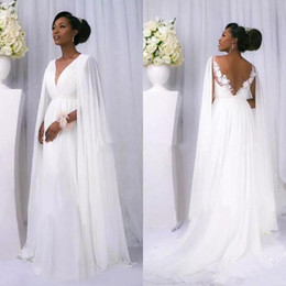 Wholesale Goddess Long Gown - Sexy African 2018 White Chiffon Cape Sleeve Beach Country Wedding Dresses Cheap Backless V Neck greek goddess beach Bridal Gowns Custom Made