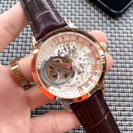 Wholesale see through leather - New Men Luxury Rose Gold Brown Black Leather Gent Automatic Mechanical Sapphire Tourbillions Watches Glass Back See Through AAA+