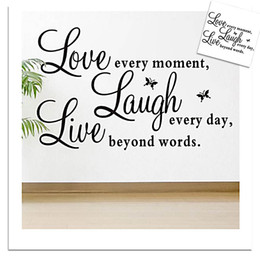 Wholesale Live Laugh Love Wall - Free Shipping Love laugh live quotes Butterfly wall decor warm home wall sticker for kids rooms Living room Bedroom Home Decoration