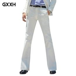Pantalón blanco flare online-Pantalones acampanados GXXH 2018 New Men Pantalones formales Pantalones de campana Pantalones de traje blanco Dance Size 28-30 31 32 33 34 36 37