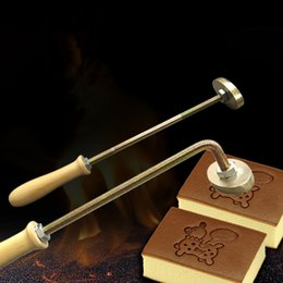 Wholesale Fire Logos - 1 set Custom fire stick + copper mold hot stamping press Printing LOGO Stamping Machine for cake leather Embossing branding