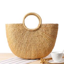 Wholesale tassel braiding - Beach Bag Straw Totes Bag Bucket Summer Bags with Tassels Women Handbag Braided 2018 New High Quality Tassel Rattan Bag C234