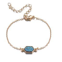 Marcas famosas pulseira on-line-ZWPON 2018 New Gold Hexágono Resina Druzy Charme Pulseiras Pulseiras para As Mulheres Moda Famosa Marca Amizade Pulseiras Atacado