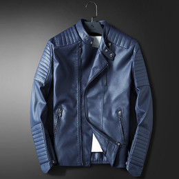 Wholesale Leather Motorcycle Jackets Mens - Wholesale- LEDINGSEN Mens Blue Motorcycle Leather jacket Men Slim Fit Red Casual Jacket Coat Autumn Winter Leather Clothing Windbreaker