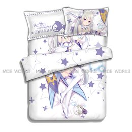 Wholesale Sheet Anime - Re:Zero Starting Life in Another World Emilia Rem Ram Beatrice hot anime charming bedding set duvet cover bed sheet pillowcases