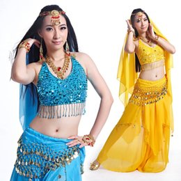 Wholesale Indian Bollywood Dancing - Professional Belly Dance Clothes Flamenco Indian Gypsy Sexy Coins Sequin Chiffon Belly Dance Dress 5PCS Bollywood Dance Costumes Suit