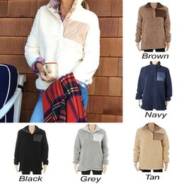 Wholesale Girls Pullover Fleece - Sherpa Pullover Women big girls Winter autumn Fleece Sweatshirt 2018 new Half Button Sweaters 7 Colors DHL C3447