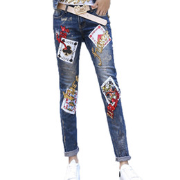 Wholesale Patchwork Womens Denim Jeans - Womens Jeans With Sequined Patchwork Denim Pants Boyfriend Trousers Pencil Skinny Jeans
