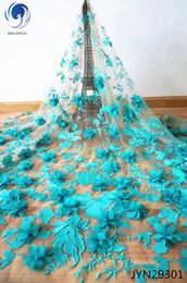 2019 african wedding dresses Mais recente Francês Africano 3D Tecido de Renda de Alta Qualidade Africano 3D Tecido de Renda De Tule Para O Vestido De Casamento Moda JYN293 african wedding dresses barato
