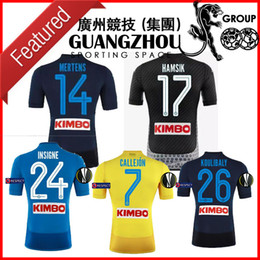 Wholesale 24 Cups - 17 18 NAPOLI EUROPA CUP SOCCER JERSEYS INSIGNE 24 HOME BLUE CALLEJON 7 AWAY YELLOW THIRD DARK BLUE BLACK 2018 JERSEY MERTENS FOOTBALL SHIRT