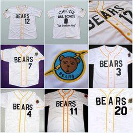 Wholesale Kelly Green Shorts - Men's stitched Bad News BEARS Movie baseball Jerseys 3 Kelly Leak 12 Tanner Boyle #4 #7 #13 #17 #20 Chicos Bail Bonds Baseball Jersey