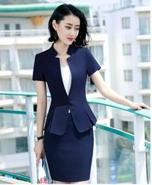 Womens Formal 2 pezzi Office Business Blazer e gonna Set completo Rosso Bianco Blu Nero S-4XL Plus taglia Manica corta Estate Abbigliamento da lavoro DK835F da