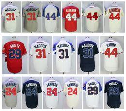 Wholesale Atlanta Baseball Jersey - Atlanta Throwback 44 Hank Aaron Jersey 24 Deion Sanders 29 John Smoltz Retro 31 Greg Maddux Jersey Stitched Baseball Jerseys