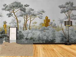 Wholesale house western - Vintage tropical Custom photo Wallpapers Large Mural Painting Hand painted European Medieval Western Painting Backdrop Decorative Paintings