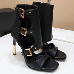 Wholesale Sexy Buckle Boots - Autumn new Gladiator Roman Sandals Womens Sexy High Heels Open Toe Thin Heel Short Boots Stilettos Nightclub Shoes Fall