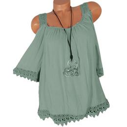 Верхняя блузка онлайн-Женщины холодное плечо блузка сексуальный ремень кружева Blusas выдалбливают топы летние каникулы пляж топ дамы футболки плюс размер 4XL A4