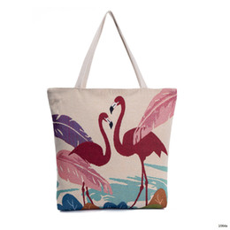 Wholesale Large Orange Handbag - Flamingo shopping bag 2018 new designer canvas women handbags large capacity cheap women designer bags causal tote bags