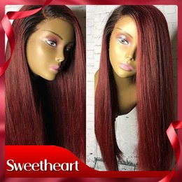 peluca de encaje Rebajas Side Parting 18 pulgadas resistente al calor peluca de Borgoña 180% densidad recto peluca sintética del frente del cordón con el pelo del bebé Ombre pelucas para mujeres negras