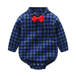 Tem Doger Infant Newborn kids Baby Boy Vestiti Red Plaid Shirt Style Pagliaccetto pagliaccetto manica lunga supplier baby boy red plaid shirt da camicia di plaid rossa del neonato fornitori