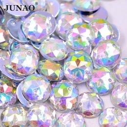 JUNAO 300pcs 12mm Cristal À Coudre AB Rond Strass Flatback Acrylique Pierres Coudre Sur Clair Strass Cristaux Perles pour Robe Bijoux Artisanat ? partir de fabricateur
