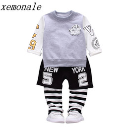 Wholesale Fasion Clothes - 2018 New Pure Cotton Children Boys Girls Sport Clothing Sets Baby T-shirt Pants 2Pcs Suits Autumn Kids Fasion Clothes Toddler Tracksuits