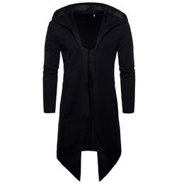 Casaco preto para homens finos on-line-Longo Trench Coat Preto Dos Homens de Moda Primavera Casuais Cardigans Dos Homens Blusão Slim Fit Plus Size Gothic Men Agradável Sobretudo Punk