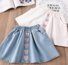 Wholesale Embroidery Denim Skirts - Summer children jeans skirts fashion girls pink love heart embroidery denim skirts kids double pocket elastic cowboy casual skirts Y8007