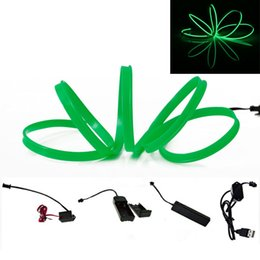 Wholesale Sound Activated Car - Green Car flexible neon light glow el Wire 5M 1M 3M 2M 4M Strip LED Lamp With DC3V dc12v USB Sound activated Controller Inverter