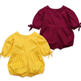 Wholesale Wholesale Baby Puffs - Baby girls bubble sleeve summer romper toddlers solid color puff-sleeved onesie summer outfits for 0-2T B11