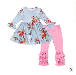 Wholesale Girls Ruffle Pants Cotton - Spring Children Clothing 2018 Stripe Floral Ruffle Dress Kids Clothes Girls Long Sleeve Pants Boutique Outfits DHL Free Shipping