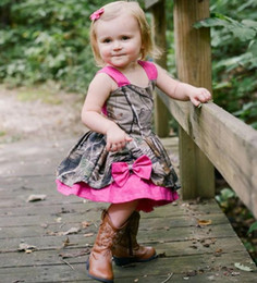 Wholesale Baby Girl Camo - Lovely Camo Baby Girl Dresses 2018 Fushia Straps Bowknot Girls Pageant Gowns Kids Christmas Party Dresses flower girl dress for wedding