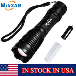 Wholesale Usa Portables - Stock In USA Black CREE LED Lantern Torch Light LED Flashlight Waterproof Zoomable LED Flashlights for Camping