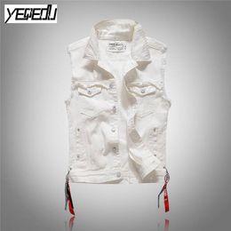 Wholesale jeans punk slim - #3409 2018 Punk Slim Fashion White denim vests men Sleeveless jean jacket men Streetwear Gilet homme Biker jeans vest M-3XL