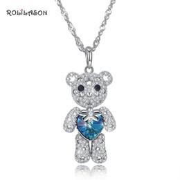 2019 синий медведь подвески Милый медведь 925 стерлингового серебра синий Циркон ожерелье кулон дамы пользовательские SP72 скидка синий медведь подвески