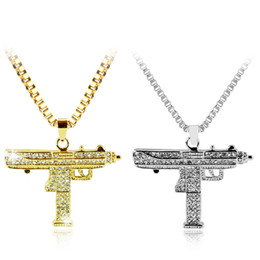 Wholesale crystal guns - Gold Necklace Uzi Gun Pendant Necklace Men Alloy Full Crystal Bling Submachine Chain Hip Hop Cyclist Accessories Male Jewelry