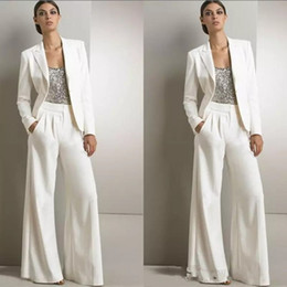 Wholesale Light Green Dress Long Sleeve - Modern White Three Pieces Mother Of The Bride Pant Suits Silver Sequined Wedding Guest Dress Plus Size Mother Dresses With Jackets