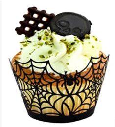 torte di halloween cupcakes Sconti Halloween Black Hollow Paper Cupcake Wrapper Liner Laser Cut Witch Spider Baking Cake Case Decorazione del partito di Halloween
