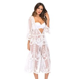 754033d813 Beach bikini cover ups swimwear long lace embroidery Cardigan women summer  crochet hollow blouse sexy holiday Swimsuit sunscreen shirts tops