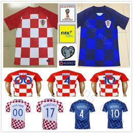 Wholesale 17 Shirts - 2018 World Cup Croatiaes Soccer Jersey 10 MODRIC 4 PERISIC 7 RAKITIC 17 MANDZUKIC 11 SRNA 8 KOVACIC Red Blue Hrvatska Football Shirt