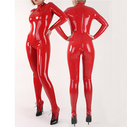 Wholesale Latex Female Suit - 2018 New hot exotic handmade female women Sexy Latex Catsuits full Suit Fetish Uniform tight cekc lingerie Costumes