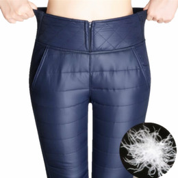Wholesale Women Winter Down Pants - Warm Pants Women 2017 Winter Pants High Waisted Outer Wear female Fashion Slim Warm Thick Down Trousers For Women skinny