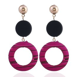 asian costumes for women Promo Codes - Acrylic Long Drop Earrings Round Shape Retro Ethnic Dangle Earrings For Women Costume Jewelry Accessories For Wedding Party Gift10pairs lot